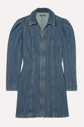 ALEXACHUNG Zip-detailed Denim Mini Dress - Mid denim