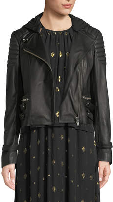 A.L.C. Knight Hooded Leather Moto Jacket