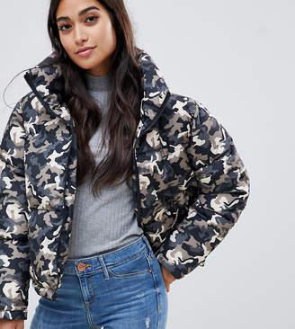Brave Soul Petite Tash Oversize Puffer Coat in Camo
