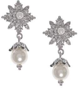 Marchesa Simulated Pearls and Brass Drop Earrings