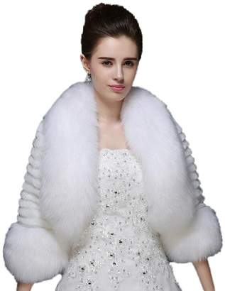 Kelaixiang Faux Fur Shawls for Bride Long Sleeves Outwear Coats
