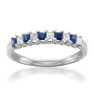 MODERN BRIDE Modern Bride Gemstone Womens 2.5 MM 1/5 CT. T.W. Genuine Blue Sapphire 14K Gold Wedding Band
