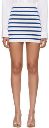 Balmain Blue and White Striped Knit Miniskirt