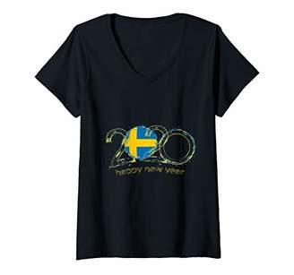 Womens Swedish Flag Happy New Year 2020 New Years Eve Gift V-Neck T-Shirt