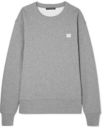 Acne Studios Fairview Face Appliquéd Cotton-jersey Sweatshirt - Light gray