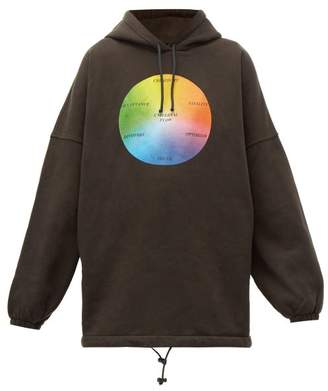 Balenciaga Universal Flow Cotton Jersey Hooded Sweatshirt - Womens - Black