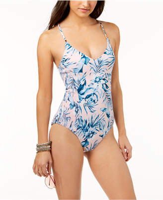 Bar III Tropic Garden Printed Ruched Low-Back Cheeky One-Piece Swimsuit, Created for Macy's Women's Swimsuit