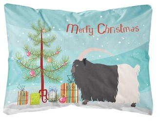 The Holiday Aisle Leona Welsh Black-Necked Goat Christmas Indoor/Outdoor Throw Pillow The Holiday Aisle