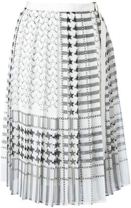 Sacai stars and stripes midi kilt skirt