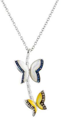Mother of Pearl 18K Mother of Pearl, Diamond & Sapphire Butterfly Pendant Necklace