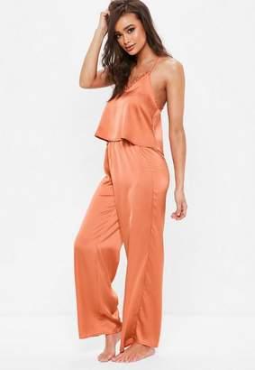Missguided Orange Cami Satin Long Pajama Set