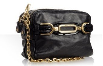 Jimmy Choo black leather chain link 'Tecla' shoulder bag
