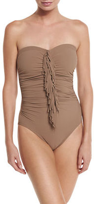 Karla Colletto Fringe-Front Bandeau One-Piece Swimsuit $299 thestylecure.com
