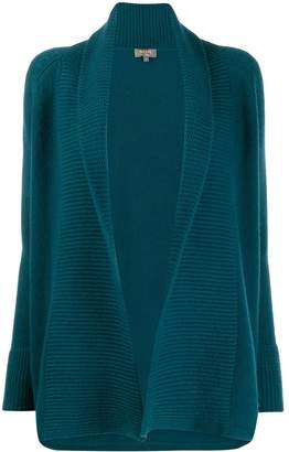 N.Peal open front ribbed cardigan