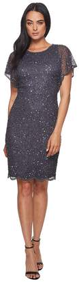 Adrianna Papell Flutter Sleeve Beaded Cocktail Dress with Pearl Edge Detail Women's Dress