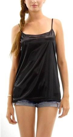 Melody [Shop Lev] Women's Basic Satin Full Slip Top Camisole (BLACK, MEDIUM)