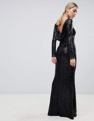 Outrageous Fortune sequin long sleeve maxi dress with cowl back in black