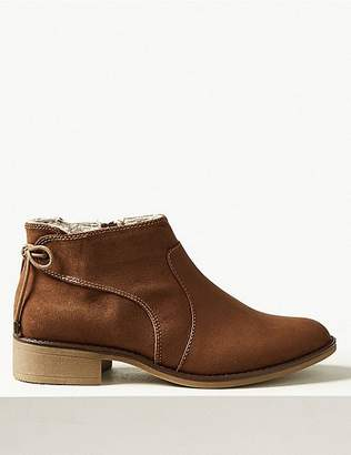 Marks and Spencer Block Heel Side Zip Tie Back Ankle Boots