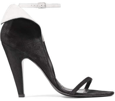 CALVIN KLEIN 205W39NYC - Camrin Ruffle-trimmed Suede Sandals - Black