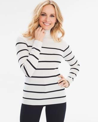 Chico's Striped Ribbed Turtleneck