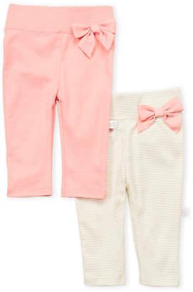 Just Born Newborn/Infant Girls) Two-Pack Bow Waist Slim Fit Pants