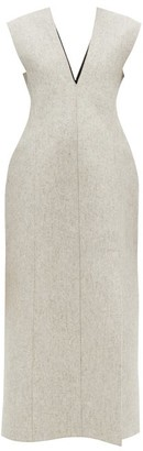 Jil Sander Side Slit Wool Blend Felt Dress - Womens - Light Grey