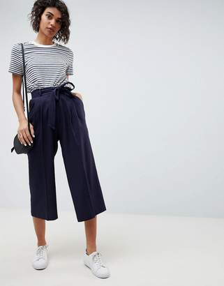 Asos Design DESIGN tailored linen culottes with tie waist and turn up