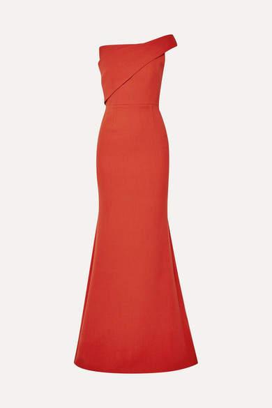 Lockton One-shoulder Wool-crepe Gown - Orange