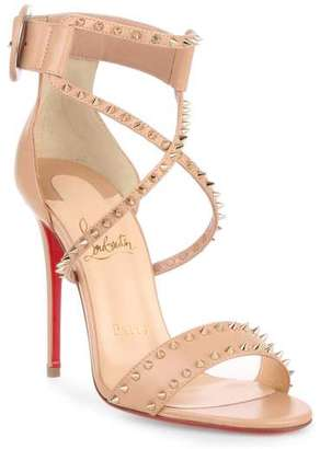 Christian Louboutin Choca 100 beige spikes sandal $995 thestylecure.com