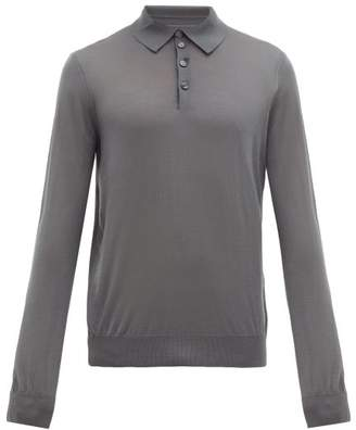 Giorgio Armani Long Sleeve Knitted Wool Polo Shirt - Mens - Grey