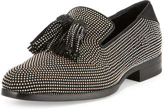 Jimmy Choo Foxley Micro-Stud Leather Tassel Loafer, Black