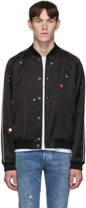 Saint Laurent Black and Multicolor Logo Teddy Bomber Jacket