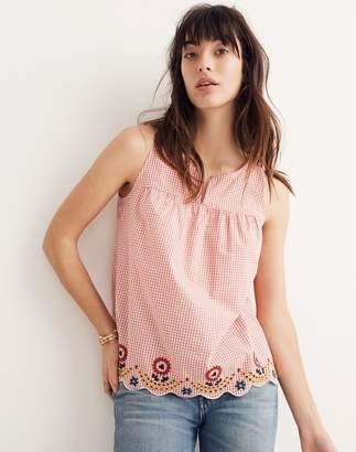 Madewell Embroidered Gingham Tank Top