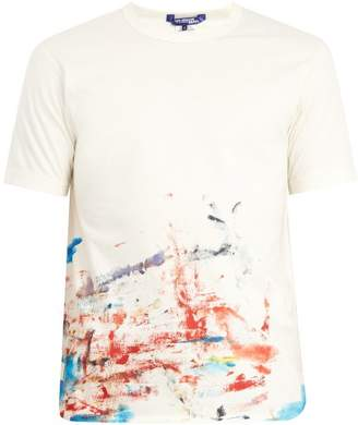 Junya Watanabe X Comme Des Garcons Paint Splashed Cotton T Shirt - Mens - White