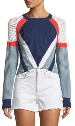 Rag & Bone Lark Crewneck Long-Sleeve Cropped Colorblock Knit Sweater