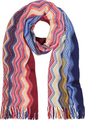 Missoni Blue/Multicolor Large Zig Zag Acrylic and Wool Lurex Fringed Women's Long Scarf