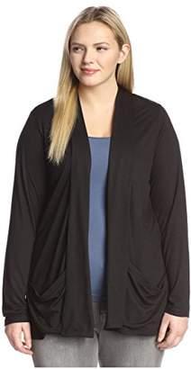 James & Erin Women's Plus-Size Slouch Pocket Open Cardigan