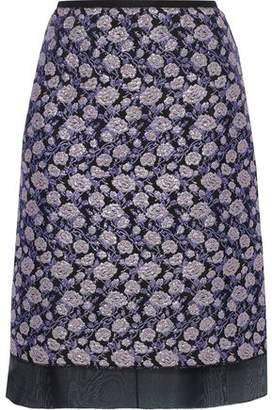 Marc Jacobs Organza-trimmed Metallic Brocade Skirt