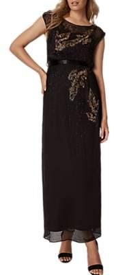 Phase Eight Morina Beaded Bird Maxi Dress, Black