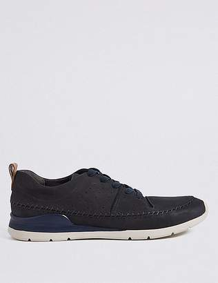 Marks and Spencer Leather Stitch Detail Lace-up Trainers