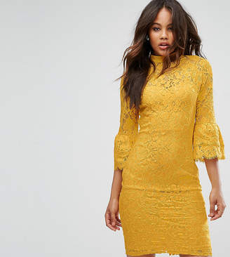 Paper Dolls Tall High Neck Midi Lace Dress with Double Frill Sleeve