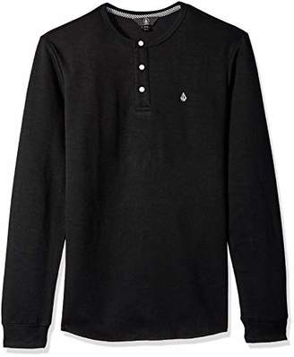Volcom Men's Layer Stone Long Sleeve Modern Knit Henley Shirt