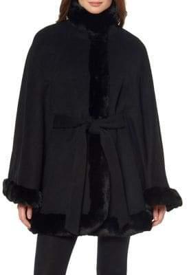 Ellen Tracy Tie Faux Fur-Trimmed Poncho