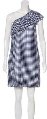 Velvet Gingham One-Shoulder Dress