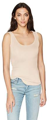 LAmade Women's Fitted U Neck Rib Tank