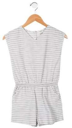 Cyrillus Girls' Striped Embellished Romper