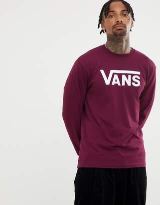 Vans large logo long sleeve t-shirt in burgundy VN000K6HZ281