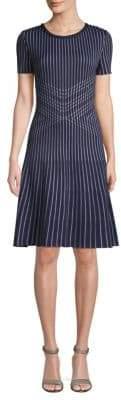 St. John Atlantis Knit Striped Fit-and-Flare Dress