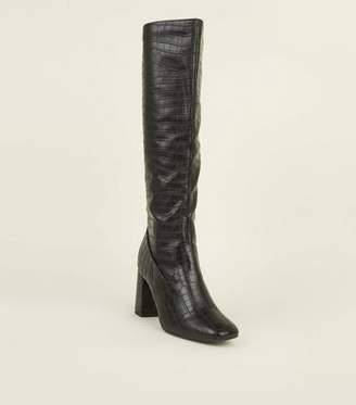 New Look Black Faux Croc Block Heel Knee High Boots