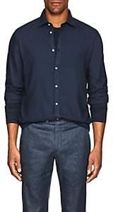 Massimo Alba Men's Washed Slub Twill Shirt - Black